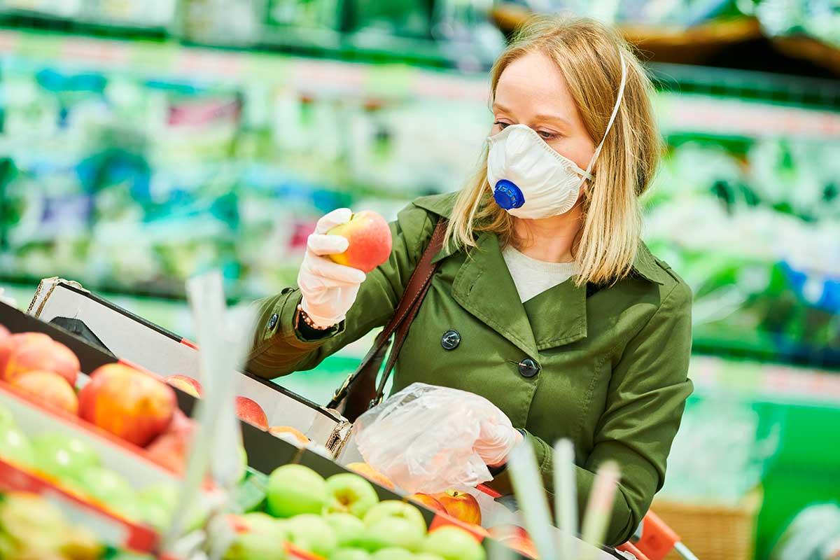 коронавирус, магазин, покупатель, маска, перчатки